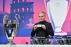 NYON, SWITZERLAND - Monday, December 14, 2020: Special guest Stéphane Chapuisat draws out Manchester City during the UEFA Champions League 2020/21 Round of 16 draw at the UEFA Headquarters, the House of European Football. (Photo Handout/UEFA)