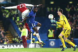 10 January 2018 - Football League Cup - Chelsea v Arsenal - Antonio Rudiger of Chelsea watches as the ball lands right in the arms of Chelsea goalkeeper Thibault Courtois - Photo: Charlotte Wilson / Offside