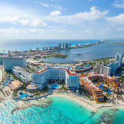 Aerial view of Cancun's hotel zone.