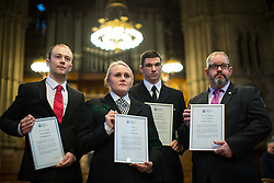 © Licensed to London News Pictures. 05/01/2018. Manchester, UK. PCSO LEWIS BROWN , PC JESSICA BULLOUGH , PCSO MARK RENSHAW and PCSO JON MORREY who were all Highly Commended for their actions on the night . Police officers and railway workers who came to the aid of victims in the wake of the terrorist attack at an Ariana Grande concert at the Manchester Arena in May 2017 are honoured at a commendation ceremony at Manchester Town Hall. Amongst those honoured are officers from British Transport Police and Northern Rail staff . Photo credit: Joel Goodman/LNP