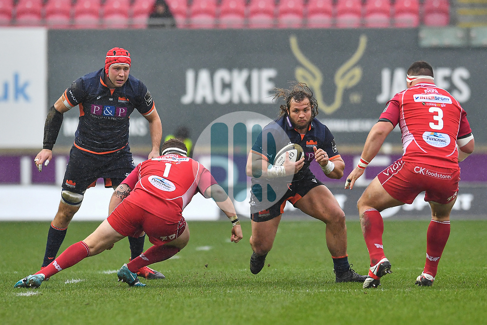 Willem Nel of Edinburgh in action during todays match<br /> <br /> Photographer Craig Thomas/Replay Images<br /> <br /> Guinness PRO14 Round 11 - Scarlets v Edinburgh - Saturday 15th February 2020 - Parc y Scarlets - Llanelli<br /> <br /> World Copyright © Replay Images . All rights reserved. info@replayimages.co.uk - http://replayimages.co.uk