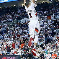 25 April 2016: Portland Trail Blazers guard C.J. McCollum (3) goes for the dunk during the Portland Trail Blazers 98-84 victory over the Los Angeles Clippers, during Game Four of the Western Conference Quarterfinals of the NBA Playoffs at the Moda Center, Portland, Oregon, USA.