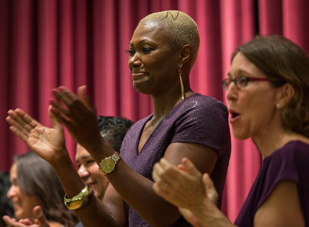 Houston ISD Trustee Jolanda Jones applauds a performance during a renaming ceremony at Bob Lanier Middle School, September 21, 2016.