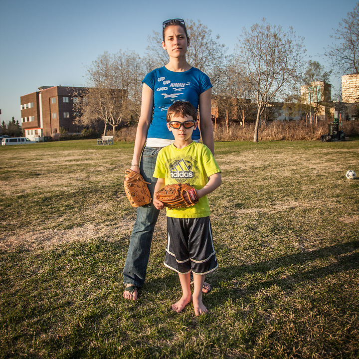 Erynne McAndrews and her six year old son, Tiernen, on the Delaney Park Strip, Anchorage.  lyssnroan@hotmail.com