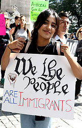 September 9, 2017 - New York, New York, U.S. - New Yorkers protest Trump's end to DACA, 'Deferred Action for Childhood Arrival' at Columbus Circle. (Credit Image: © Nancy Kaszerman via ZUMA Wire)