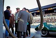 Nürburgring 1000 Kilometres 28 May 1961, Bill de Selincourt holding glass of beer, Lola Mk.1 car