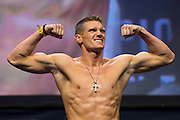 Stephen Thompson steps on the scale during the UFC 205 weigh-ins at Madison Square Garden in New York, New York on November 11, 2016.  (Cooper Neill for The Players Tribune)