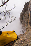 Morning at the first portaledge camp, Monte Brento
