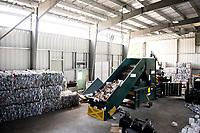 Inside the Gilford Recycling building.  (Karen Bobotas/for the Laconia Daily Sun)