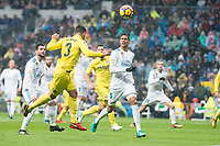 Real Madrid Raphael Varane and Nacho Fernandez and Villarreal Alvaro Gonzalez during La Liga match between Real Madrid and Villarreal CF at Santiago Bernabeu in Madrid, Spain. January 13, 2018. (ALTERPHOTOS/Borja B.Hojas)