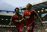 Photo: Paul Thomas.<br /> Liverpool v Maccabi Haifa. UEFA Champions League Qualifier. 09/08/2006.<br /> <br /> Craig Bellamy celebrates his goal with  Jermaine Pennant(L).