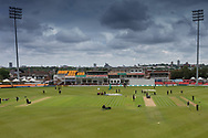 General view of Grace Road before Day 2 of the Specsavers County Champ Div 2 match between Leicestershire County Cricket Club and Gloucestershire County Cricket Club at the Fischer County Ground, Grace Road, Leicester, United Kingdom on 18 June 2019.