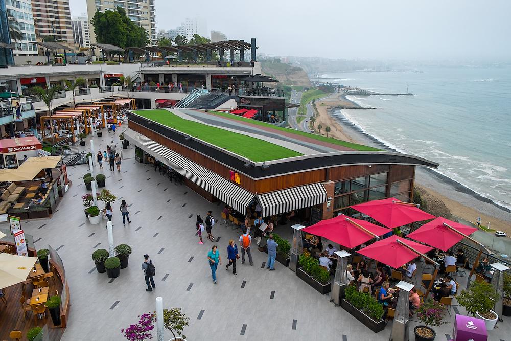 LIMA, PERU - CIRCA APRIL 2014: View of the Larcomar shopping center in the Miraflores area of Lima, Peru.
