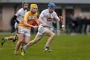 Leinster Minor Hurling - Shield Final at St Feckins GFC, 2nd April 2016<br /> Antrim vs Kildare<br /> Simon Leacy (Kildare) & Diarmaid McShane (Antrim)<br /> Photo: David Mullen /www.cyberimages.net / 2016