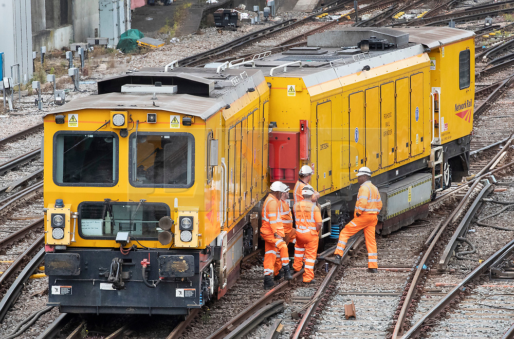 © Licensed to London News Pictures. 09/07/2019. London, UK. An engineering train sits across the tracks outside Victoria railway station after becoming derailed at 3am. Thousands of rail passengers have been affected with disruption to services expected to last all day. Photo credit: Peter Macdiarmid/LNP