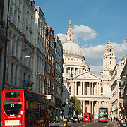 Looking down Ludgate Road towards St Paul's Cathedral, one of the most distinctive of London's landmarks. There has been a church on this site since 604 AD. The current building, with it's massive dome, was designed by Christopher Wren and dates back to the late 17th century.