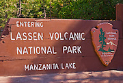 Park entrance sign at Lassen Volcanic National Park, California