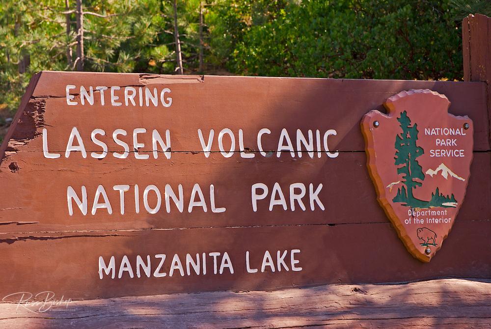Park entrance sign at Lassen Volcanic National Park, California