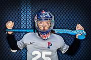 University of Pennsylvania field hockey player Ava Rosati stands on Rhodes Field at the University of Pennsylvania in Philadelphia, Pennsylvania on November 26, 2019.