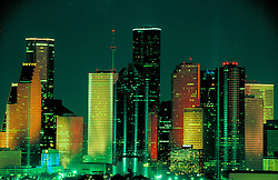 Colorful night view of Houston, Texas skyline from the southeast.