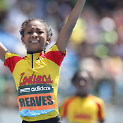Adaria Reaves, USA, winning the Girls' Fastest Kid in New York 100m during the Diamond League Adidas Grand Prix at Icahn Stadium, Randall's Island, Manhattan, New York, USA. 14th June 2014. Photo Tim Clayton
