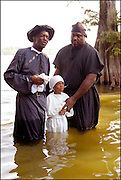 A 100 yr. Tradition of rural African American Baptisms on Moon Lake, in the Mississippi Delta held once a year in the same spot on the lake. The last candidate for baptism is pictured leaving the water. (photo©Suzi Altman. Description/Caption:<br /> A 100 yr. Tradition of rural African American Baptisms on Moon Lake, in the Mississippi Delta held once a year in the same spot on the lake. The First candidate for baptism is pictured in the water before he is Baptised. (photo © Suzi Altman)