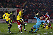Rotherham United goalkeeper Lee Camp (1)  saves from Middlesbrough midfielder Albert Adomah (27)  during the Sky Bet Championship match between Rotherham United and Middlesbrough at the New York Stadium, Rotherham, England on 8 March 2016. Photo by Simon Davies.