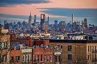 Sunset Park Neighborhood & Midtown Manhattan (background)