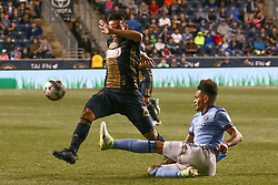 April 14, 2017 - Chester, PA, United States of America - Philadelphia Union Midfielder ILSON PEREIRA DIAS (25) avoids the defender in the second half of a Major League Soccer match between the Philadelphia Union and New York City FC Friday, Apr. 17, 2016 at Talen Energy Stadium in Chester, PA. (Credit Image: © Saquan Stimpson via ZUMA Wire)