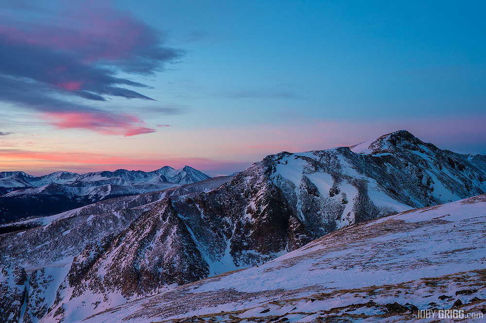 Peak on the right is Mount Bancroft and just to the left of center are Colorado Fourteeners Grays Peak and Torreys Peak