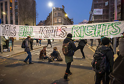 """© Licensed to London News Pictures;03/04/2021; Bristol, UK. Protesters hang a sign saying """"This Bill Kills Rights"""" at a fifth """"Kill the Bill"""" protest in a fortnight taking place in Bristol against the Police, Crime, Sentencing and Courts Bill during the Covid-19 coronavirus pandemic in England. Several arrests were made. The Bill proposes new restrictions on protests. Some previous Kill the Bill protests in Bristol had violence. Photo credit: Simon Chapman/LNP."""
