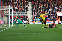 Football - 2019 / 2020 Premier League - AFC Bournemouth vs. Watford<br /> <br /> Gerard Deulofeu of Watford forces Bournemouth's Mark Travers into a save low at his new post during the Premier League match at the Vitality Stadium (Dean Court) Bournemouth  <br /> <br /> COLORSPORT/SHAUN BOGGUST
