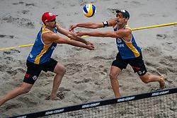 Adrian Gavira ESP, Pablo Herrera ESP in action during the third day of the beach volleyball event King of the Court at Jaarbeursplein on September 11, 2020 in Utrecht.