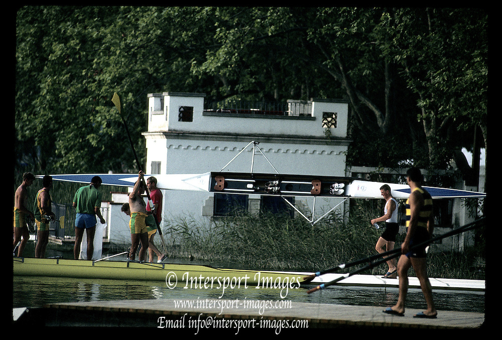 Barcelona Olympics 1992 - Lake Banyoles, SPAIN,  GV's,  Crews boating, Spanish/Moorish House round the lake,  Photo: Peter Spurrier.       {Mandatory Credit: © Peter Spurrier/Intersport Images].