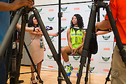 Odyssey Sims of the Dallas Wings visits with the media during the team media day in Arlington, Texas on May 5, 2016.  (Cooper Neill for The New York Times)