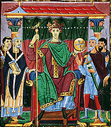 Meister der Reichenauer Schule; Otto III from the Gospels of Otto III. Holy Roman Emperor Reign 21 May 996 – 24 January 1002. Date 1000 AD