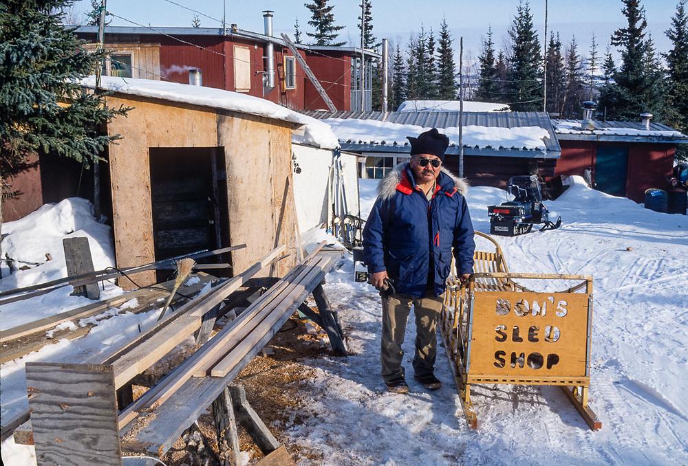 Don Smith, Inupiat elder, cargo sled builder, Kobuk River Valley, Kiana, Alaska, USA