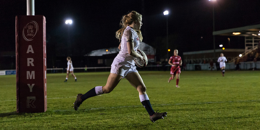 Ella Wyrwas crosses the line to score a try, Army Women v U20 England Women at the Army Rugby Stadium, Aldershot, England, on 16th February 2017. Final score 15-38.