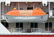 Totally enclosed lifeboat TELB on Cruise Ship <br /> <br /> Editions:- Open Edition Print / Stock Image