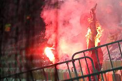 The fans of Maribor - Viole during football match between NK Olimpija Ljubljana and NK Maribor in Round #25 of Prva Liga Telekom Slovenije 2017/18, on March 31, 2018 in SRC Stozice, Ljubljana, Slovenia. Photo by Matic Klansek Velej / Sportida