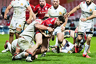 Charlie Chapman of Gloucester Rugby scores his sides third try during the Gallagher Premiership Rugby match between Gloucester Rugby and Exeter Chiefs at the Kingsholm Stadium, Gloucester, United Kingdom on 26 March 2021.