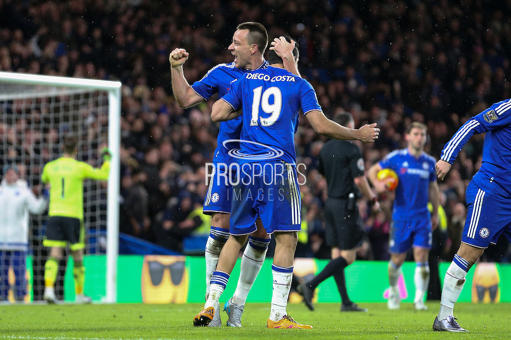 Chelsea's John Terry and Chelsea's Diego Costa celebrate during the Barclays Premier League match between Chelsea and Manchester United at Stamford Bridge, London, England on 7 February 2016. Photo by Ellie Hoad.