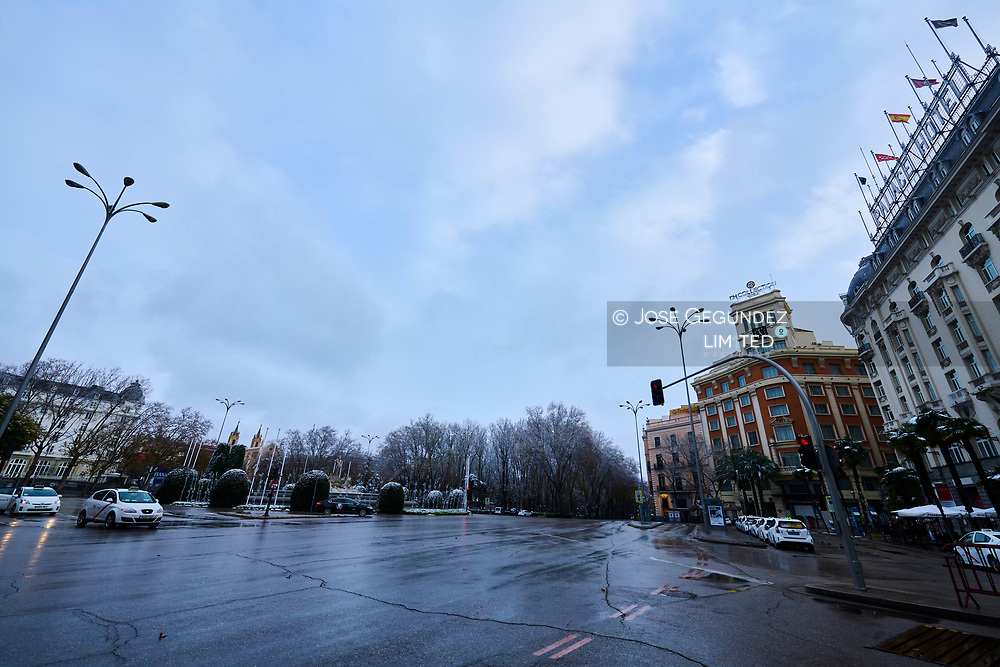 Neptuno square after Storm Filomena brought intense snow on January 7, 2021 in Madrid, Spain. Madrid and part of Spain were blanketed in snow today as inclement weather could affect up to half of the country by the next days.