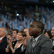 Delegates listen to Michelle Obama's speech at The 2012 Democratic National Convention
