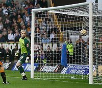 Photo: Steve Bond/Sportsbeat Images.<br />Wolverhampton Wanderers v Bristol City. Coca Cola Championship. 03/11/2007. Wayne Hennessey watches in horror as Liam Fontaine's header drops into the net