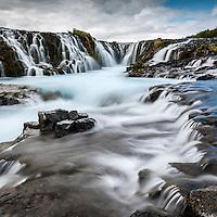 Brúarárfoss waterfall in Bláskógabyggð, South Iceland.