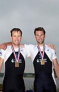 Poznan, POLAND.  2006, FISA, Rowing World Cup, GBR LM2X, Men's Lightweight double scull Bronze Medallist left James LINDSEY FYNN and Mark HUNTER,   'Malta Regatta course;  Poznan POLAND, Sat. 17.06.2006. © Peter Spurrier   ....[Mandatory Credit Peter Spurrier/ Intersport Images] Rowing Course:Malta Rowing Course, Poznan, POLAND