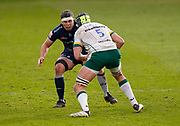 Sale Sharks flanker Jono Ross sets to tackle London Irish Lock Rob Simmons during a Gallagher Premiership Round 14 Rugby Union match, Sunday, Mar 21, 2021, in Eccles, United Kingdom. (Steve Flynn/Image of Sport)