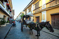 A calesa, sometimes called a karitela, is a horse-driven carriage used in the Philippines. This was one of the modes of transportation introduced in the Philippines in the 18th century by the Spanish - at the time only nobles and high ranked officials could afford. They are rarely used in the streets nowadays except rural areas and especially in Vigan where they are still a common form of transportation.