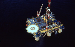 Stock photo of an offshore semi-submersible drilling rig aerial view.